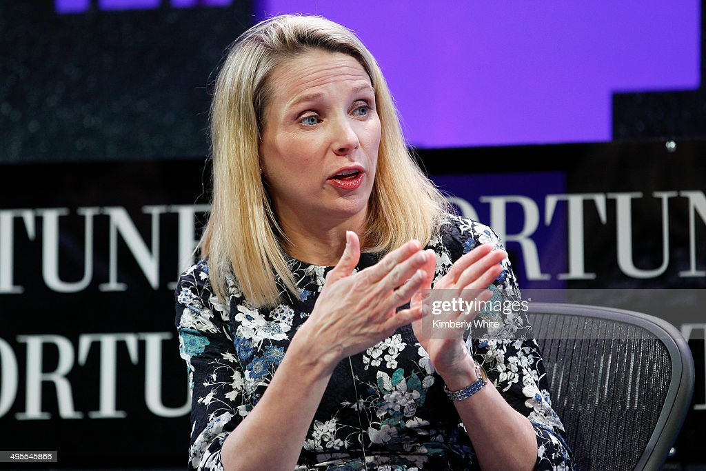 <a gi-track='captionPersonalityLinkClicked' href=/galleries/search?phrase=Marissa+Mayer&family=editorial&specificpeople=5577875 ng-click='$event.stopPropagation()'>Marissa Mayer</a> speaks during the Fortune Global Forum - Day2 at the Fairmont Hotel on November 3, 2015 in San Francisco, California.