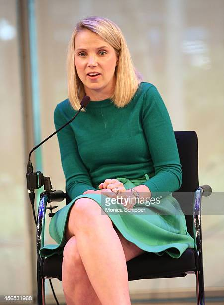 Marissa Mayer speaks onstage at A Conversation with Marissa Mayer panel during AWXI on October 2 2014 in New York City