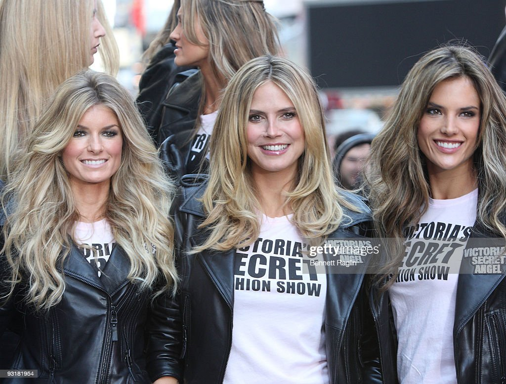 Marissa Miller, Heidi Klum and Alessandra Ambrosio take over Military Island, Times Square on November 18, 2009 in New York City.