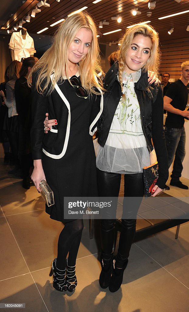 Marissa Montgomery and Chelsea Leyland attend the Calvin Klein Jeans launch party at their Regent Street store on February 18, 2013 in London, England.