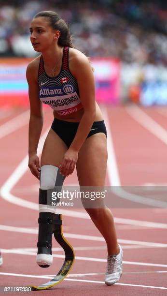 Marissa Papaconstantinou of Canada competing Women's 200m T44 Round 1 Heat 2 during World Para Athletics Championships at London Stadium in London on...