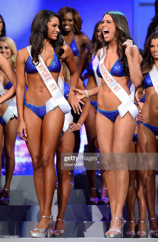 Marissa Raisor (L) of Newport, Kentucky and Rachel Fashing of Madison, Wisconsin react after being named top 11 finalists during the 17th annual Hooters International Swimsuit Pageant at The Joint inside the Hard Rock Hotel & Casino on June 27, 2013 in Las Vegas, Nevada. Raisor went on to be crowned Miss Hooters International 2013.