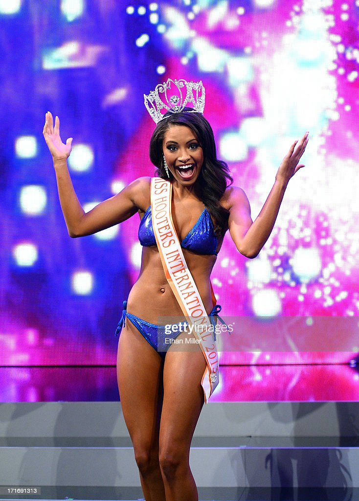 Marissa Raisor of Newport, Kentucky poses onstage after being crowned Miss Hooters International 2013 at the 17th annual Hooters International Swimsuit Pageant at The Joint inside the Hard Rock Hotel & Casino on June 27, 2013 in Las Vegas, Nevada.