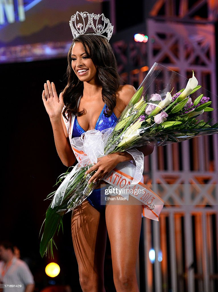 Marissa Raisor of Newport, Kentucky waves after being crowned Miss Hooters International 2013 at the 17th annual Hooters International Swimsuit Pageant at The Joint inside the Hard Rock Hotel & Casino on June 27, 2013 in Las Vegas, Nevada.