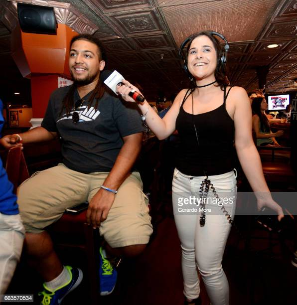 Marissa Rives and a guest laugh during the SiriusXM's Busted Open Live From WrestleMania 33 on April 1 2017 in Orlando City