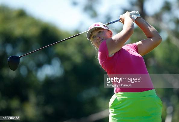 Marissa Steen watches her tee shot on the seventh hole during the first round of the Marathon Classic presented by Owens Corning and OI at Highland...