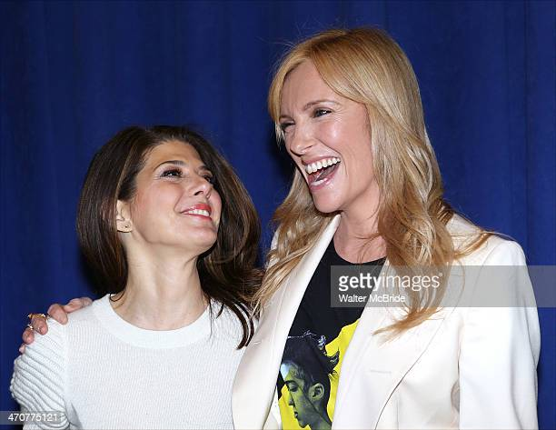 Marissa Tomei and Toni Collette attend 'The Realistic Joneses' Broadway press preview at The New 42nd Street Studios on February 20 2014 in New York...
