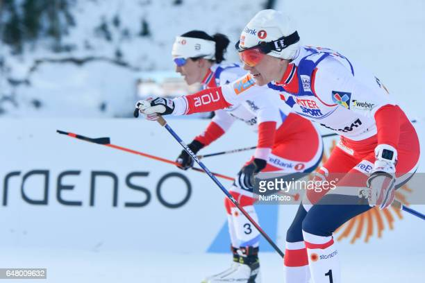 Marit Bjoergen and Heidi Weng from Norway in action during Ladies crosscountry 30 km Mass Start Free final at FIS Nordic World Ski Championship 2017...