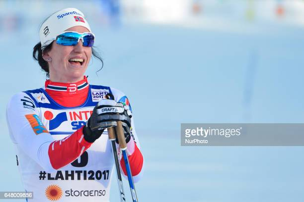 Marit Bjoergen from Norway after she wins Ladies crosscountry 30 km Mass Start Free final at FIS Nordic World Ski Championship 2017 in Lahti On...