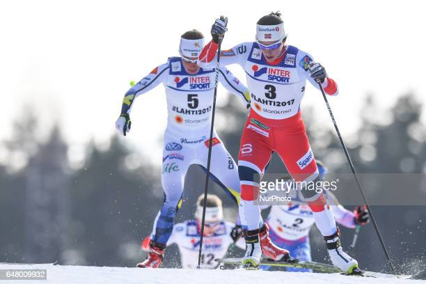 Marit Bjoergen from Norway ahead of Charlotte Calla from Sweden from Norway leads during Ladies crosscountry 30 km Mass Start Free final at FIS...
