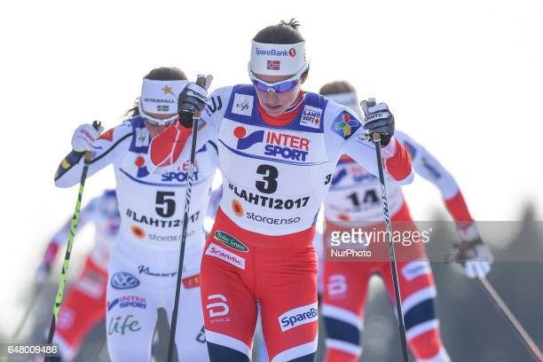 Marit Bjoergen from Norway leads during Ladies crosscountry 30 km Mass Start Free final at FIS Nordic World Ski Championship 2017 in Lahti On...