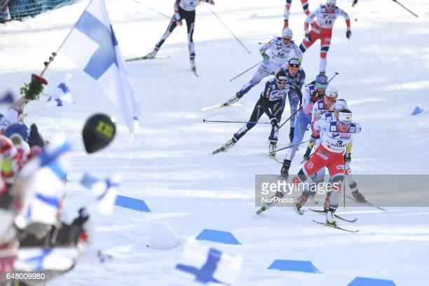 Marit Bjoergen from Norway leads Ladies crosscountry 30 km Mass Start Free and her FOURTH GOLD MEDAL at FIS Nordic World Ski Championship 2017 in...