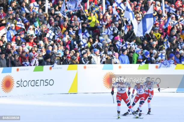 Marit Bjoergen Heidi Weng and Astrid Uhrenholdt Jacobsen during the last 100 metres in Ladies crosscountry 30 km Mass Start Free final at FIS Nordic...