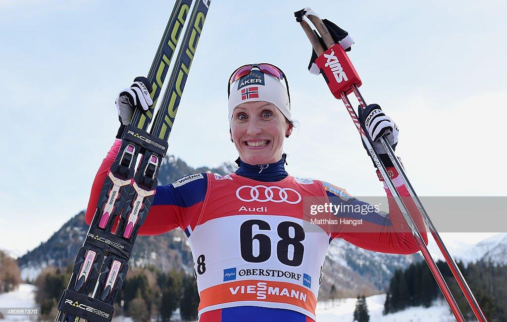 Marit Bjoergen of Norway celebrates after winning the Women's Prologue 3 km Individual Free event for the FIS Cross Country World Cup Tour de Ski on January 3, 2015 in Oberstdorf, Germany.