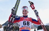 Marit Bjoergen of Norway celebrates after winning the Women's Prologue 3 km Individual Free event for the FIS Cross Country World Cup Tour de Ski on...