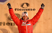 Marit Bjoergen of Norway celebrates her Gold medal at the medal ceremony for the Women's Skiathlon at the FIS Nordic World Ski Championships on...