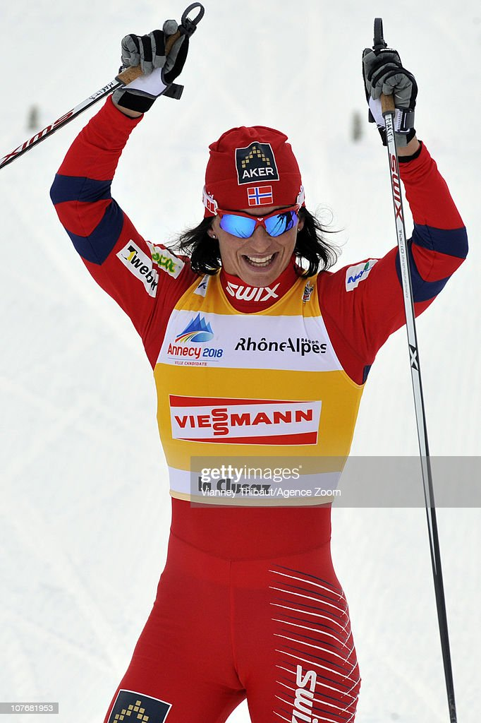 <a gi-track='captionPersonalityLinkClicked' href=/galleries/search?phrase=Marit+Bjoergen&family=editorial&specificpeople=216406 ng-click='$event.stopPropagation()'>Marit Bjoergen</a> of Norway celebrates taking 1st place during the FIS Cross-Country World Cup Women's 15 km Mass Start on December 18, 2010 in La Clusaz, France.