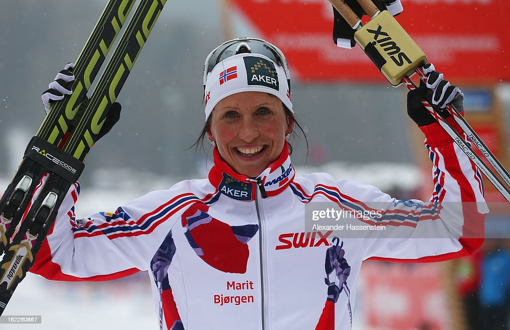<a gi-track='captionPersonalityLinkClicked' href=/galleries/search?phrase=Marit+Bjoergen&family=editorial&specificpeople=216406 ng-click='$event.stopPropagation()'>Marit Bjoergen</a> of Norway celebrates victory in the Women's Cross Country Sprint Final at the FIS Nordic World Ski Championships on February 21, 2013 in Val di Fiemme, Italy.