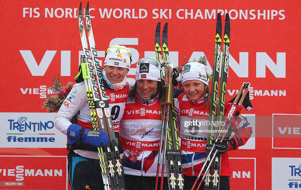 <a gi-track='captionPersonalityLinkClicked' href=/galleries/search?phrase=Marit+Bjoergen&family=editorial&specificpeople=216406 ng-click='$event.stopPropagation()'>Marit Bjoergen</a> of Norway celebrates victory with second placed Ida Ingemarsdotter of Sweden (L) andthird placed Maiken Caspersen Falla of Norway (R) following the Women's Cross Country Sprint Final at the FIS Nordic World Ski Championships on February 21, 2013 in Val di Fiemme, Italy.
