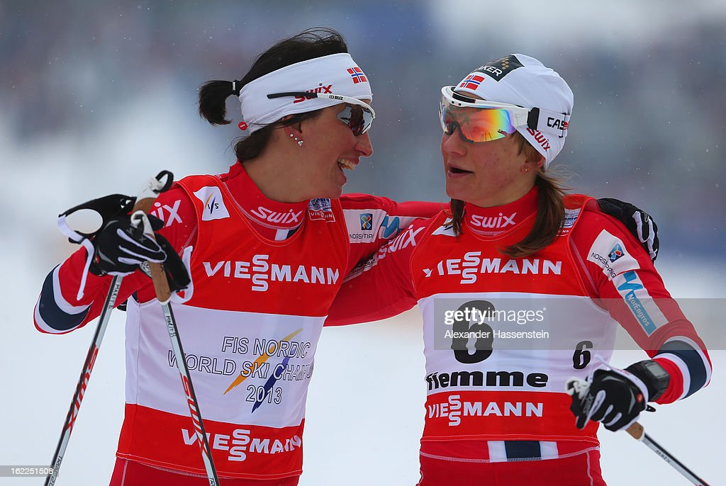 <a gi-track='captionPersonalityLinkClicked' href=/galleries/search?phrase=Marit+Bjoergen&family=editorial&specificpeople=216406 ng-click='$event.stopPropagation()'>Marit Bjoergen</a> of Norway celebrates victory with third placed Maiken Caspersen Falla of Norway (r) in the Women's Cross Country 1.2km Classic Sprint Final at the FIS Nordic World Ski Championships on February 21, 2013 in Val di Fiemme, Italy.