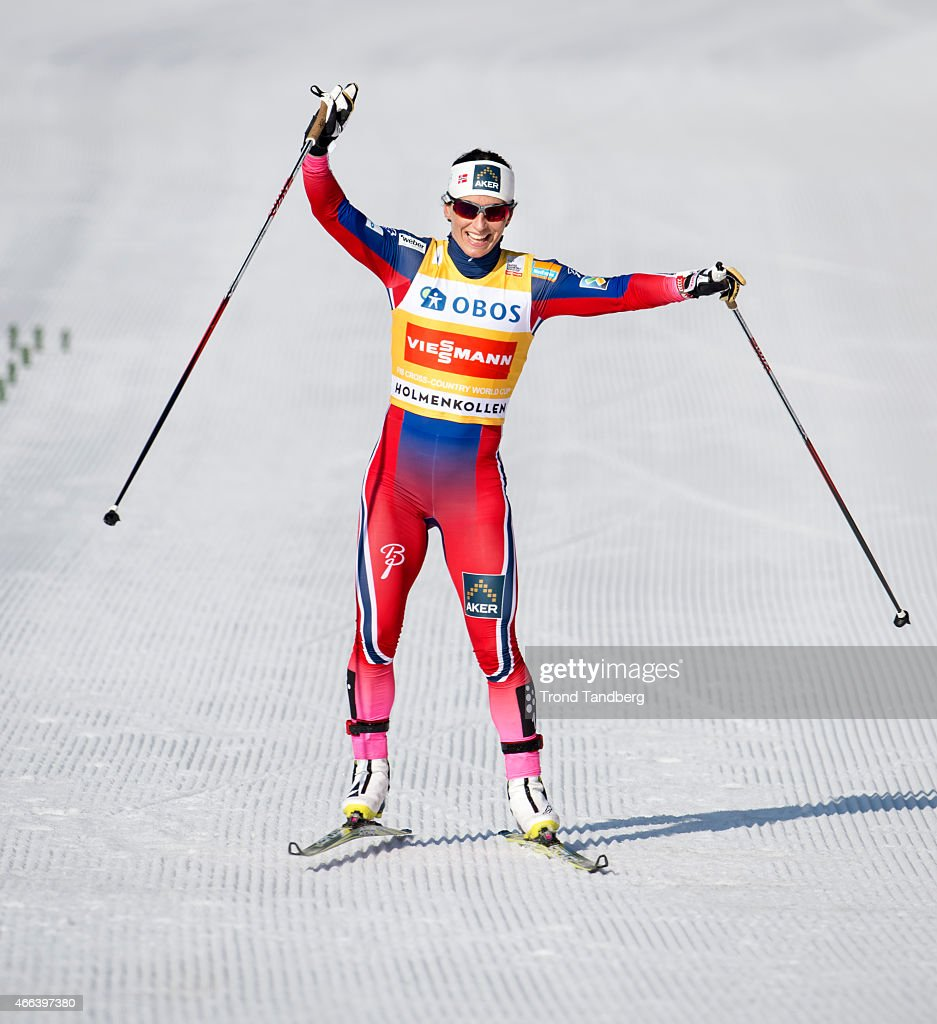 Marit Bjoergen of Norway celebrates winning the FIS World Cup Lady 30 km Mass Start Free on March 15, 2015 in Holmenkollen Oslo, Norway.