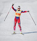 Marit Bjoergen of Norway celebrates winning the FIS World Cup Lady 30 km Mass Start Free on March 15 2015 in Holmenkollen Oslo Norway