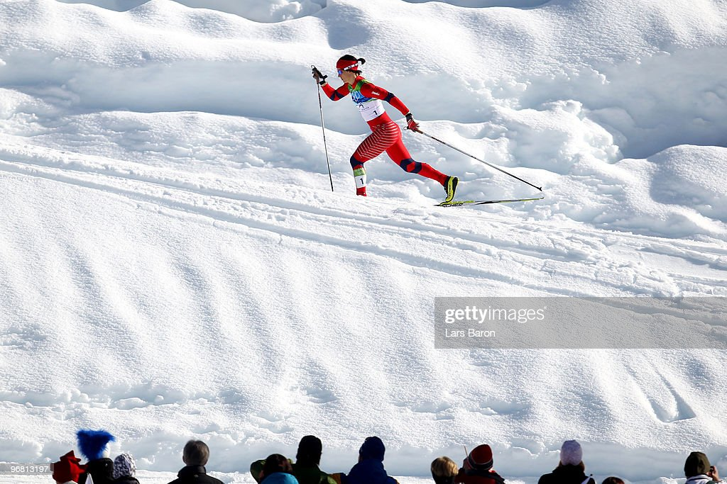 <a gi-track='captionPersonalityLinkClicked' href=/galleries/search?phrase=Marit+Bjoergen&family=editorial&specificpeople=216406 ng-click='$event.stopPropagation()'>Marit Bjoergen</a> of Norway competes during the Women's Cross-Country Individual Sprint C Final on day 6 of the 2010 Vancouver Winter Olympics at Whistler Olympic Park Biathlon Stadium on February 16, 2010 in Whistler, Canada.