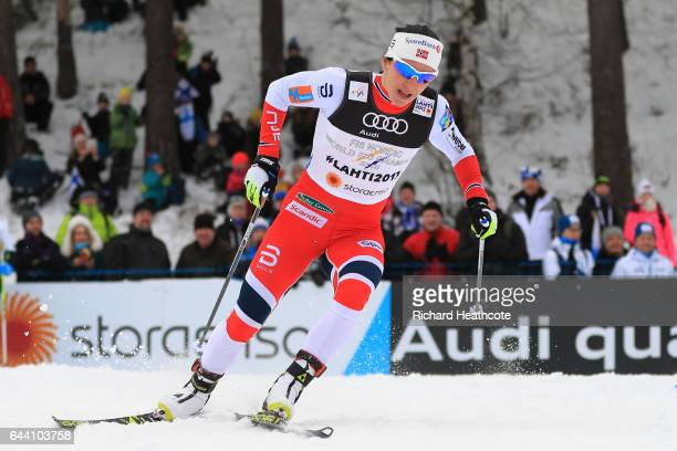 Marit Bjoergen of Norway competes in the Women's 14KM Cross Country Sprint qualification round during the FIS Nordic World Ski Championships on...
