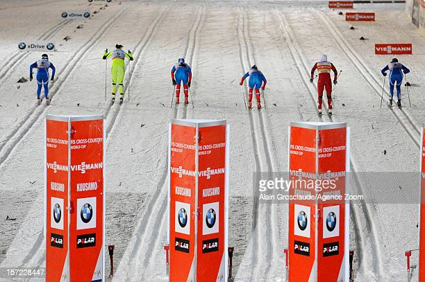 Marit Bjoergen of Norway competes to take 1st place during the FIS CrossCountry World Cup Women's Sprint on November 30 2012 in Kuusamo Finland