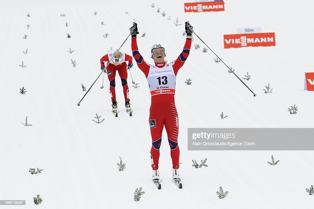 <a gi-track='captionPersonalityLinkClicked' href=/galleries/search?phrase=Marit+Bjoergen&family=editorial&specificpeople=216406 ng-click='$event.stopPropagation()'>Marit Bjoergen</a> of Norway takes 1st place during the FIS Cross-Country World Cup Women's Mass Start on January 19, 2013 in La Clusaz, France.