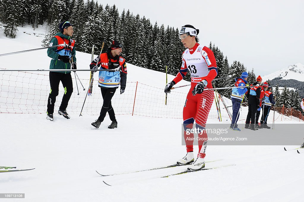 Marit Bjoergen of Norway takes 1st place during the FIS Cross-Country World Cup Women's Mass Start on January 19, 2013 in La Clusaz, France.