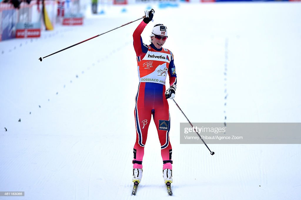 <a gi-track='captionPersonalityLinkClicked' href=/galleries/search?phrase=Marit+Bjoergen&family=editorial&specificpeople=216406 ng-click='$event.stopPropagation()'>Marit Bjoergen</a> of Norway takes 1st place during the FIS Cross-Country World Cup Men's and Women's Pursuit on January 08, 2015 in Toblach, Italy.