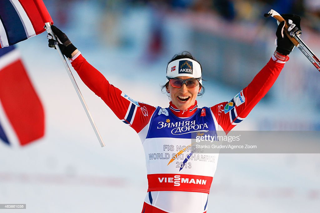 Marit Bjoergen of Norway takes 1st place during the FIS Nordic World Ski Championships Women's Cross-Country Sprint on February 19, 2015 in Falun, Sweden.