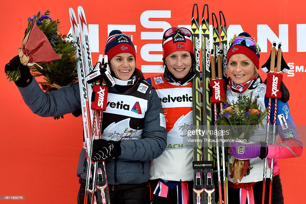 <a gi-track='captionPersonalityLinkClicked' href=/galleries/search?phrase=Marit+Bjoergen&family=editorial&specificpeople=216406 ng-click='$event.stopPropagation()'>Marit Bjoergen</a> of Norway takes 1st place, <a gi-track='captionPersonalityLinkClicked' href=/galleries/search?phrase=Heidi+Weng&family=editorial&specificpeople=8660218 ng-click='$event.stopPropagation()'>Heidi Weng</a> of Norway takes 2nd place, <a gi-track='captionPersonalityLinkClicked' href=/galleries/search?phrase=Therese+Johaug&family=editorial&specificpeople=4176080 ng-click='$event.stopPropagation()'>Therese Johaug</a> of Norway takes 3rd place during the FIS Cross-Country World Cup Men's and Women's Pursuit on January 08, 2015 in Toblach, Italy.