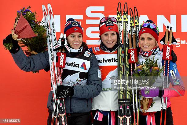 Marit Bjoergen of Norway takes 1st place Heidi Weng of Norway takes 2nd place Therese Johaug of Norway takes 3rd place during the FIS CrossCountry...