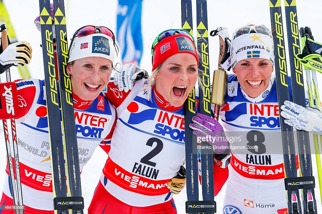<a gi-track='captionPersonalityLinkClicked' href=/galleries/search?phrase=Marit+Bjoergen&family=editorial&specificpeople=216406 ng-click='$event.stopPropagation()'>Marit Bjoergen</a> of Norway takes 2nd place, <a gi-track='captionPersonalityLinkClicked' href=/galleries/search?phrase=Therese+Johaug&family=editorial&specificpeople=4176080 ng-click='$event.stopPropagation()'>Therese Johaug</a> of Norway takes 1st place, <a gi-track='captionPersonalityLinkClicked' href=/galleries/search?phrase=Charlotte+Kalla&family=editorial&specificpeople=4081474 ng-click='$event.stopPropagation()'>Charlotte Kalla</a> of Sweden takes 3rd place during the FIS Nordic World Ski Championships Women's Cross-Country Mass Start on February 28, 2015 in Falun, Sweden.