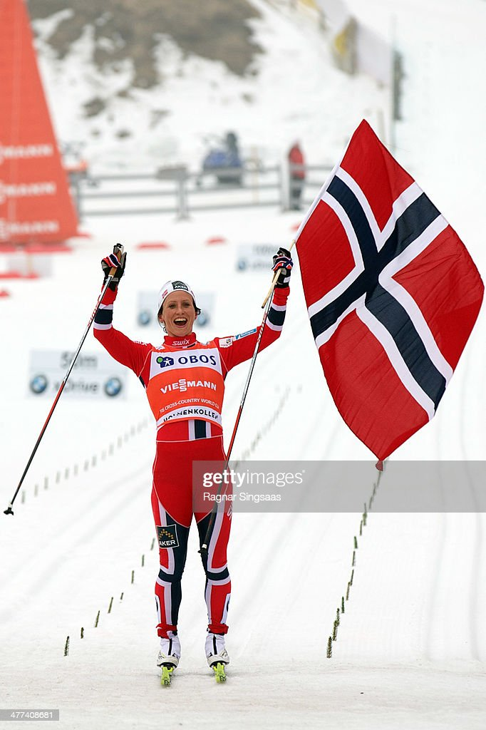 Marit Bjoergen of Norway takes first place during the FIS CrossCountry World Cup Ladies 30 km Mass Start Classic on March 9 2014 in Oslo Norway