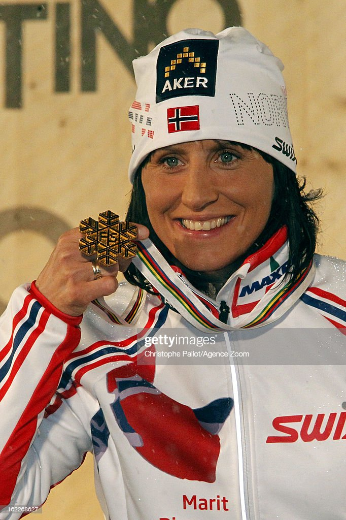 <a gi-track='captionPersonalityLinkClicked' href=/galleries/search?phrase=Marit+Bjoergen&family=editorial&specificpeople=216406 ng-click='$event.stopPropagation()'>Marit Bjoergen</a> of Norway takes the gold medal during the FIS Nordic World Ski Championships Women's Sprint on February 21, 2013 in Val di Fiemme, Italy.