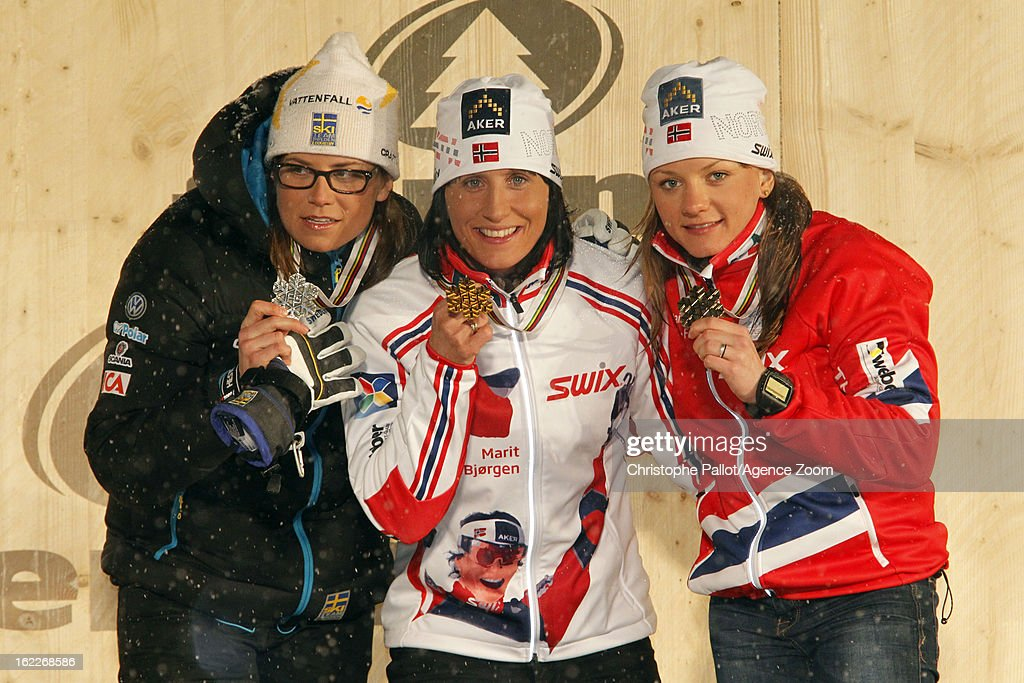 <a gi-track='captionPersonalityLinkClicked' href=/galleries/search?phrase=Marit+Bjoergen&family=editorial&specificpeople=216406 ng-click='$event.stopPropagation()'>Marit Bjoergen</a> of Norway takes the gold medal, Ida Ingemarsdotter of Sweden takes the silver medal, Maiken Caspersen Falla of Norway takes the bronze medal during the FIS Nordic World Ski Championships Women's Sprint on February 21, 2013 in Val di Fiemme, Italy.