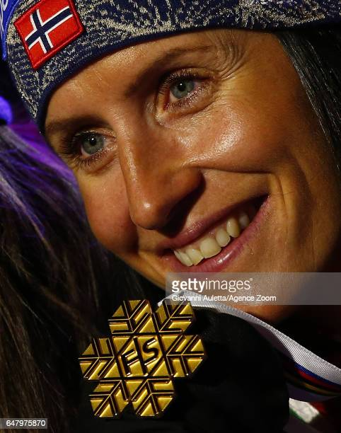 Marit Bjoergen of Norway wins the gold medal during the FIS Nordic World Ski Championships Women's Cross Country Mass Start on March 4 2017 in Lahti...