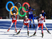 Marit Bjoergen Therese Johaug and Heidi Weng of Norway compete in the Ladies' Skiathlon 75 km Classic 75 km Free during day one of the Sochi 2014...