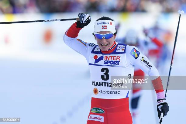 Marit Bjoergen wins her Fourth Gold Medal ahead of her Norway teammates Heidi Weng Astrid Uhrenholdt Jacobsen and Ragnhild Hagaall from Norway take...
