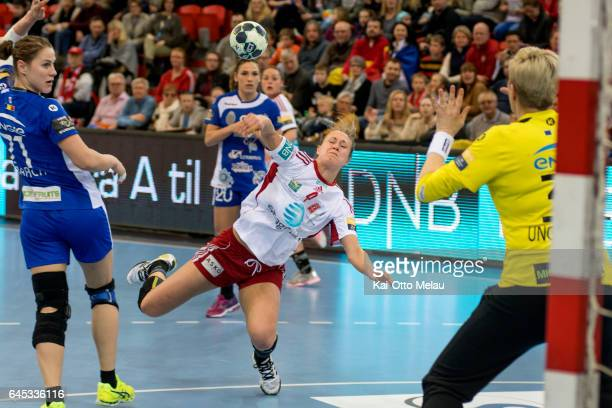 Marit Malm Frafjord in the Women's EHF Champions league match between Larvik HK and CSM Bucuresti on February 25 2017 in Larvik Norway