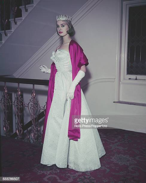 Marita Lindahl of Finland winner of the 1957 Miss World beauty contest wears her crown and dress at the Lyceum Ballroom in London on 14th October 1957