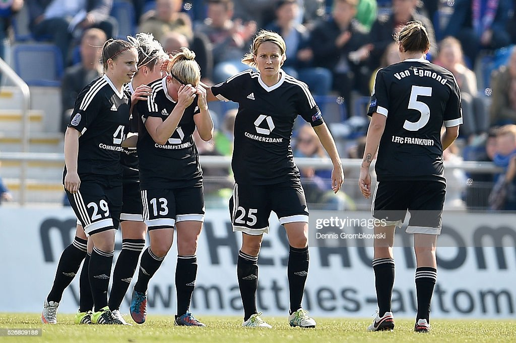 Marith Priessen of 1. FFC Frankfurt celebrates with team mates as she scores the opening goal during the UEFA Women's Champions League Semi Final second leg match between 1. FFC Frankfurt and VfL Wolfsburg at Stadion am Brentanobad on May 1, 2016 in Frankfurt am Main, Germany.