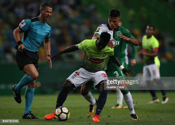 Maritimo forward Piqueti from Guinea Bissau with Sporting CP defender Jonathan Silva from Argentina in action during the Portuguese League Cup match...