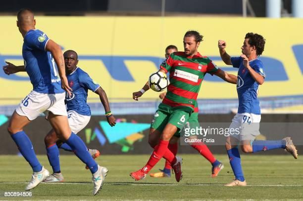 Maritimo midfielder Erdem Sen from Turkey with CF Os Belenenses midfielder Filipe Chaby from Portugal in action during the Primeira Liga match...