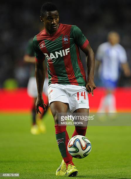 Maritimo's Cape Verdean defender Gege controls the ball during the Portuguese league football match FC Porto vs Maritimo at the Dragao Stadium in...