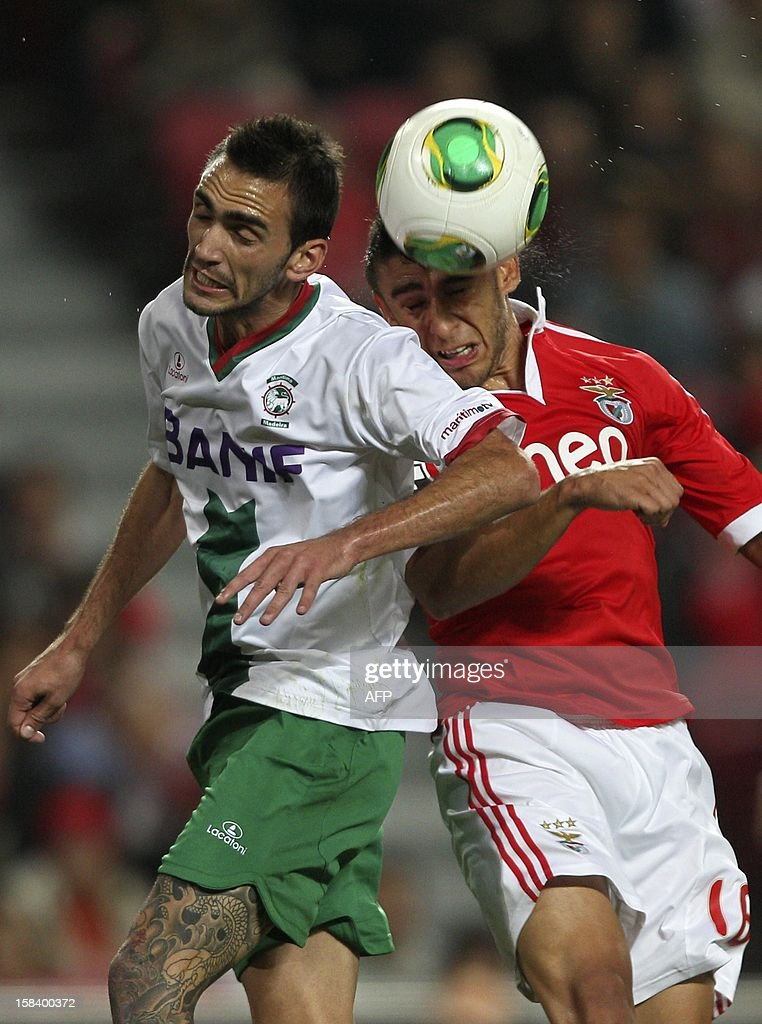 Maritimo's defender Ruben Ferreira (L) vies with Benfica's Argentinian forward Eduardo Salvio during the Portuguese league football match Benfica vs Maritimo at the Luz Stadium in Lisbon on December 15, 2012.