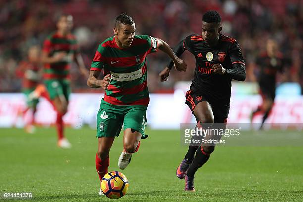 Maritimo's forward Edgar Costa from Portugal tries to escape Benfica's defender Nelson Semedo from Portugal during the SL Benfica v CS Maritimo...
